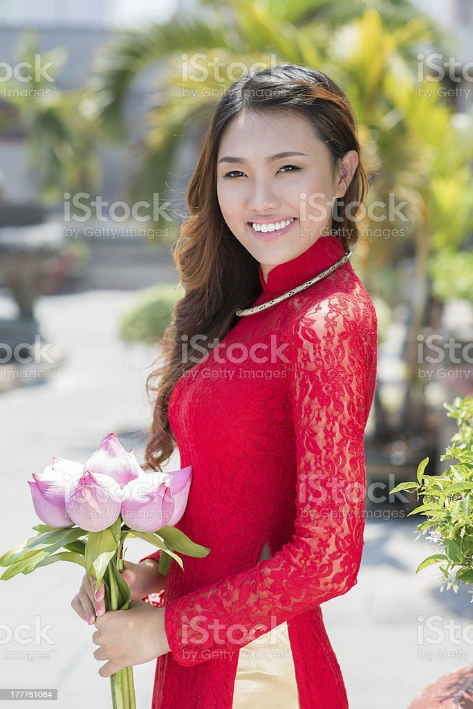 Lady with flowers royalty-free stock photo
