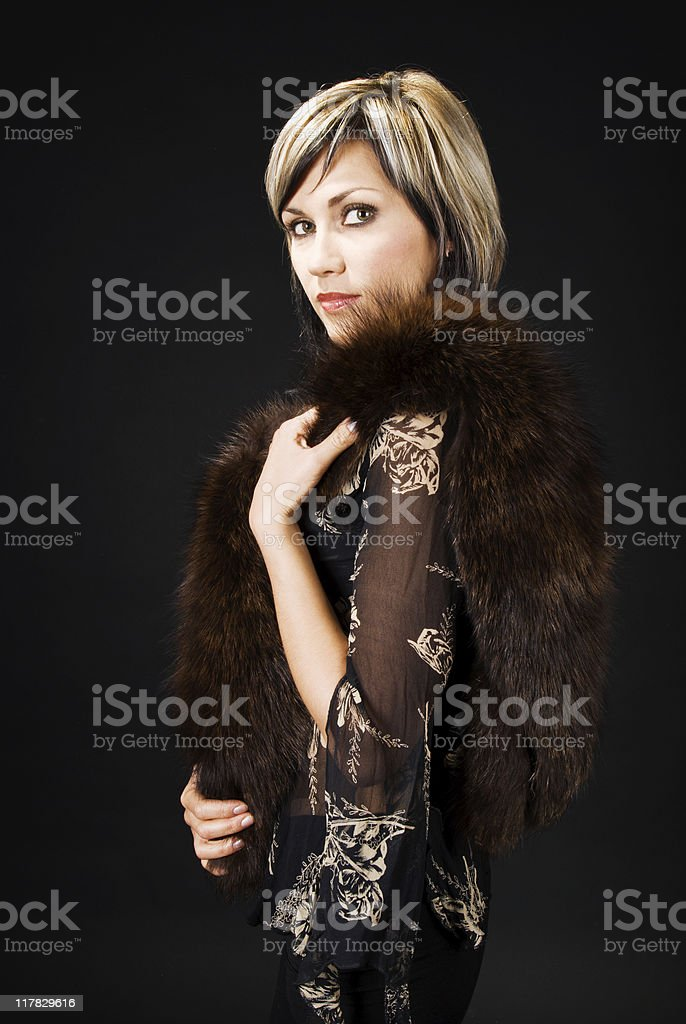Lady with fur boa royalty-free stock photo