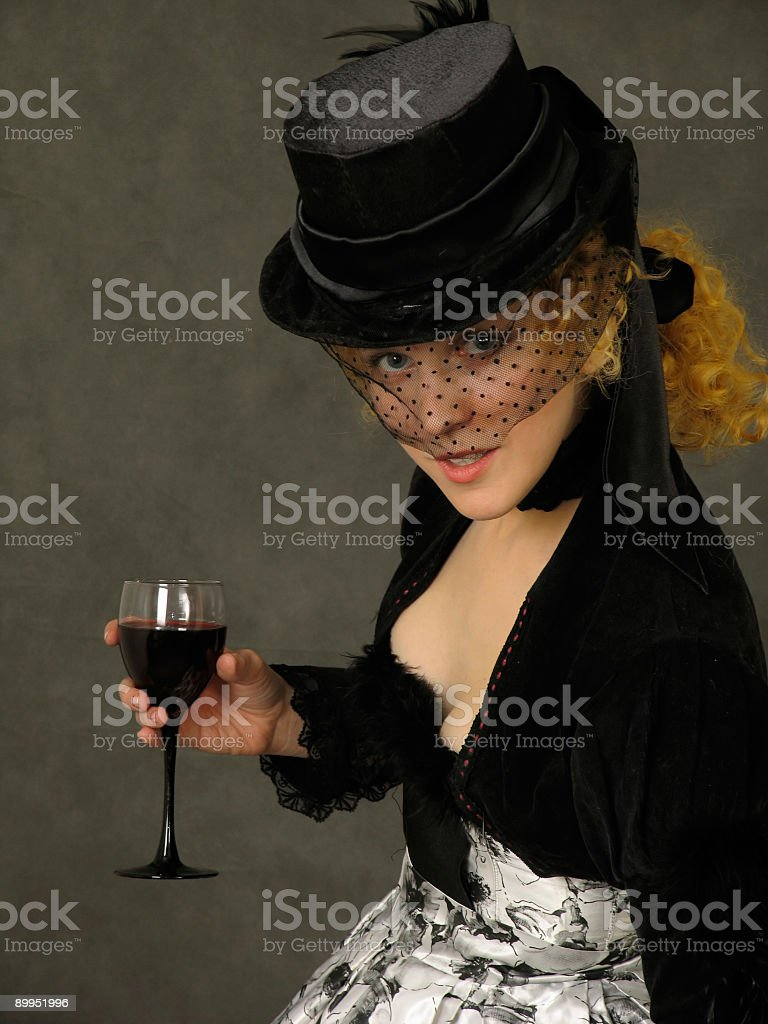 Lady with glass of wine royalty-free stock photo