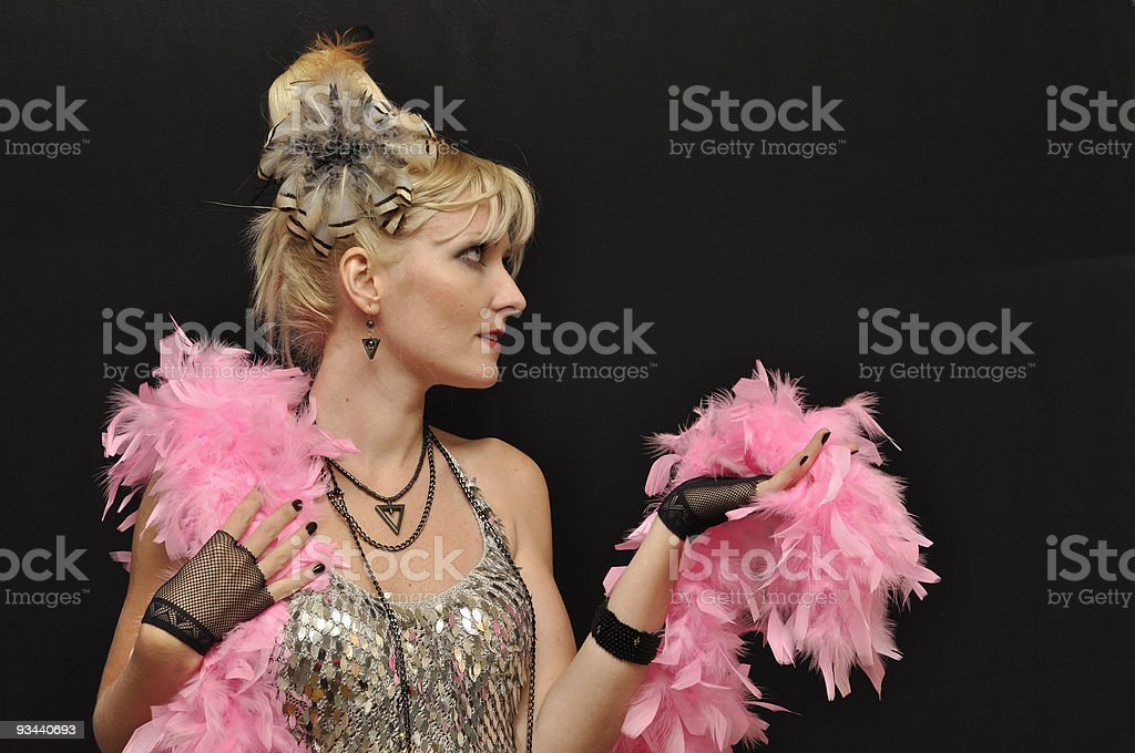 Lady with pink boa stock photo