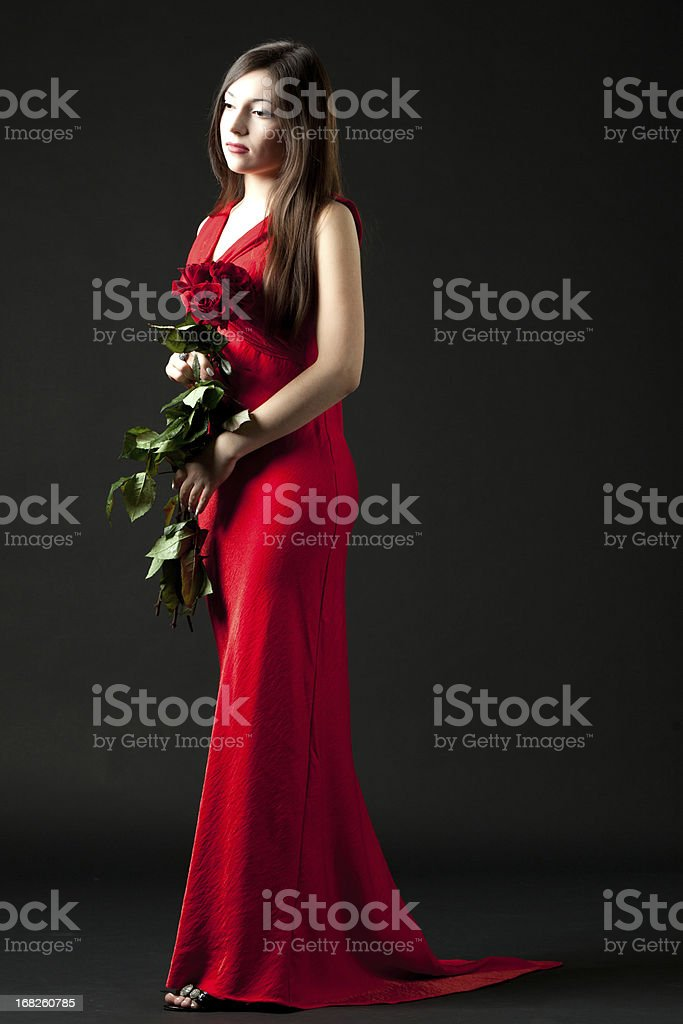 Lady with roses stock photo