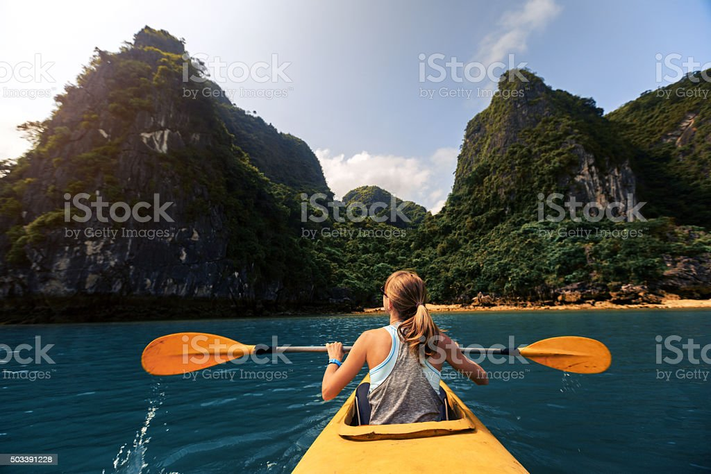 Lady with the kayak stock photo