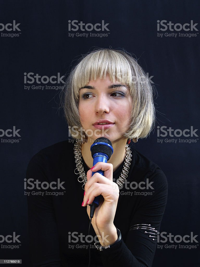 Lady with the mike stock photo