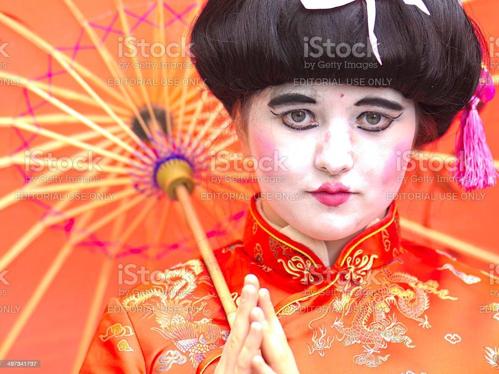 Lady with ubrella royalty-free stock photo