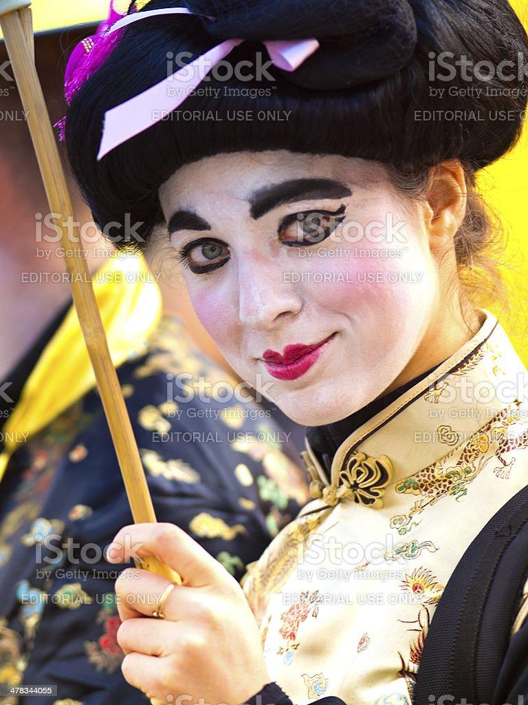 Lady with umbrella royalty-free stock photo
