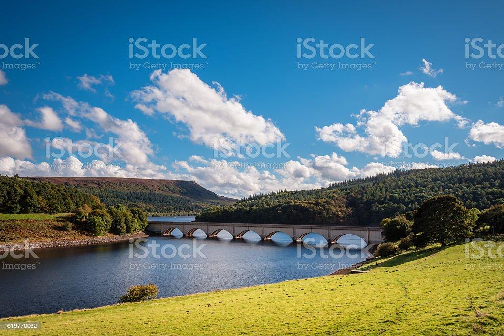 Ladybower Reservoir and Bamford Edge stock photo
