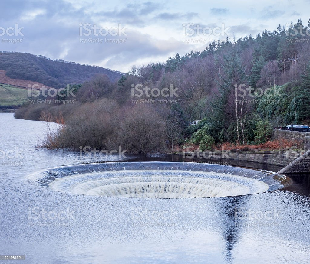 Ladybower reservoir, sinkholes after heavy rain, Derbyshire, UK stock photo