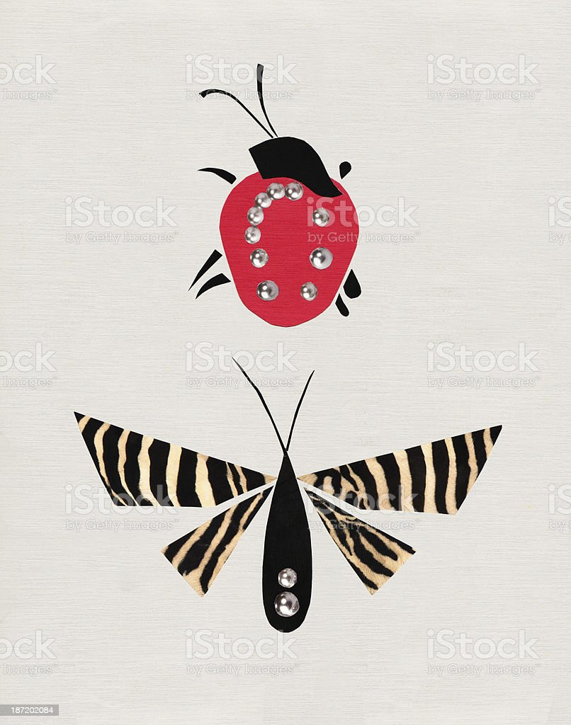 Ladybug & Butterfly royalty-free stock photo