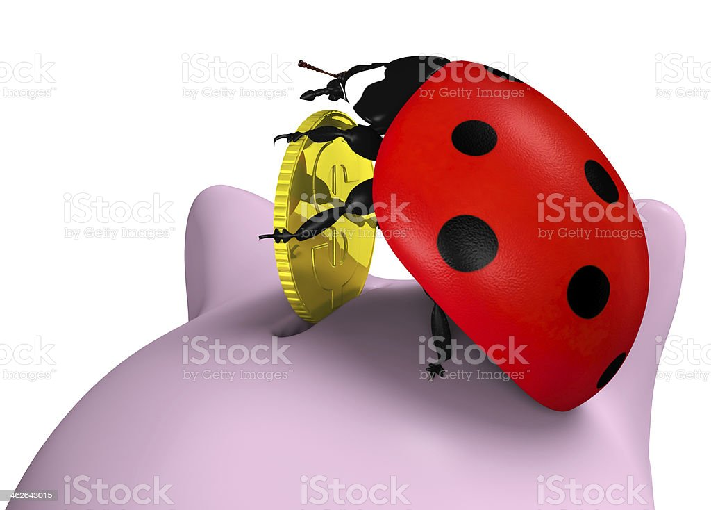 Ladybug inserts a coin stock photo