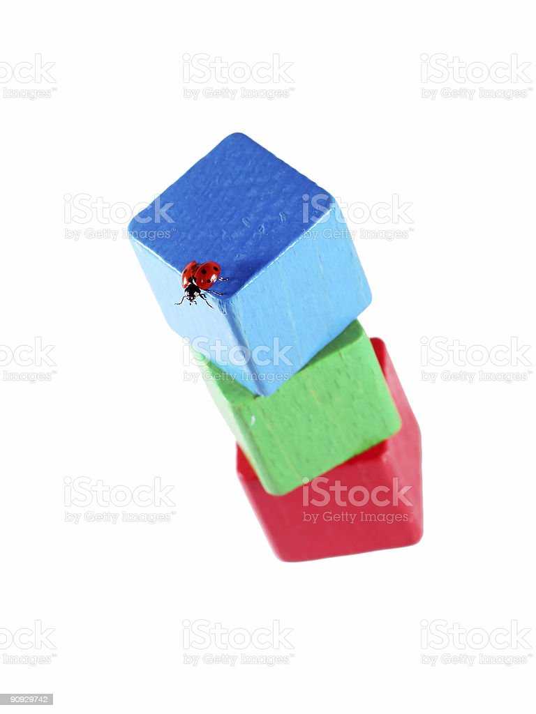 Ladybug on rgb cubes 01 royalty-free stock photo