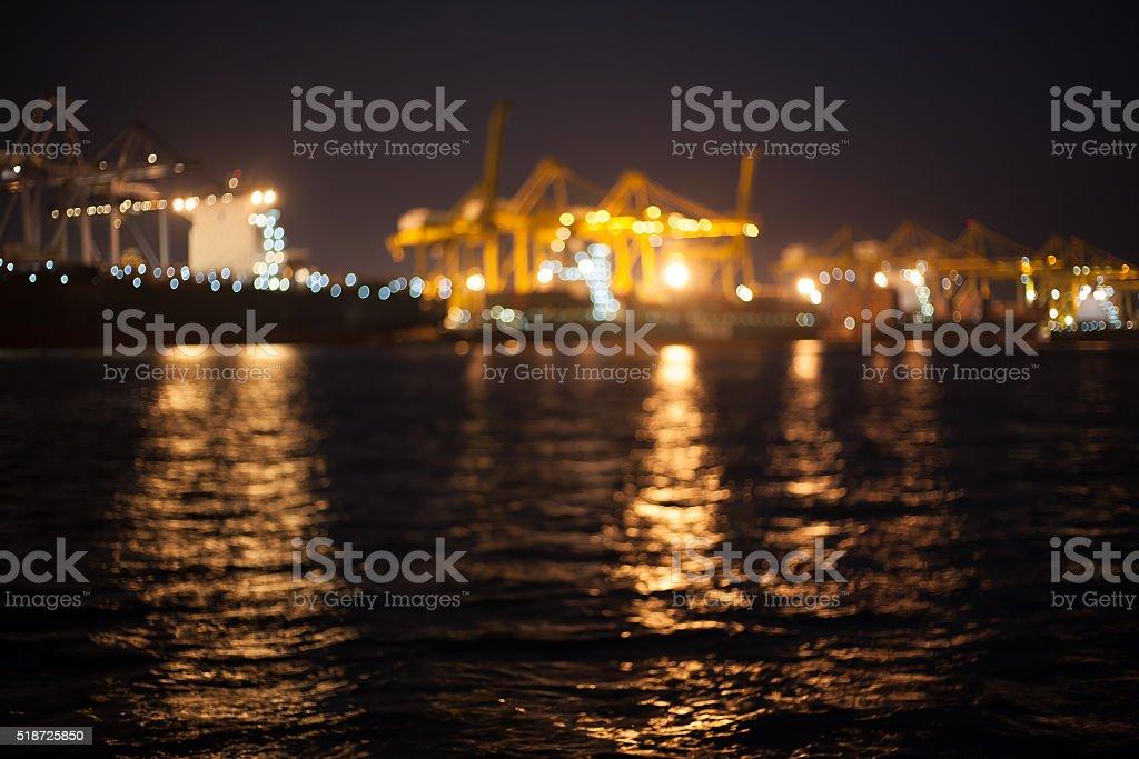 Laemchabang habour night time blur mode with bokeh stock photo