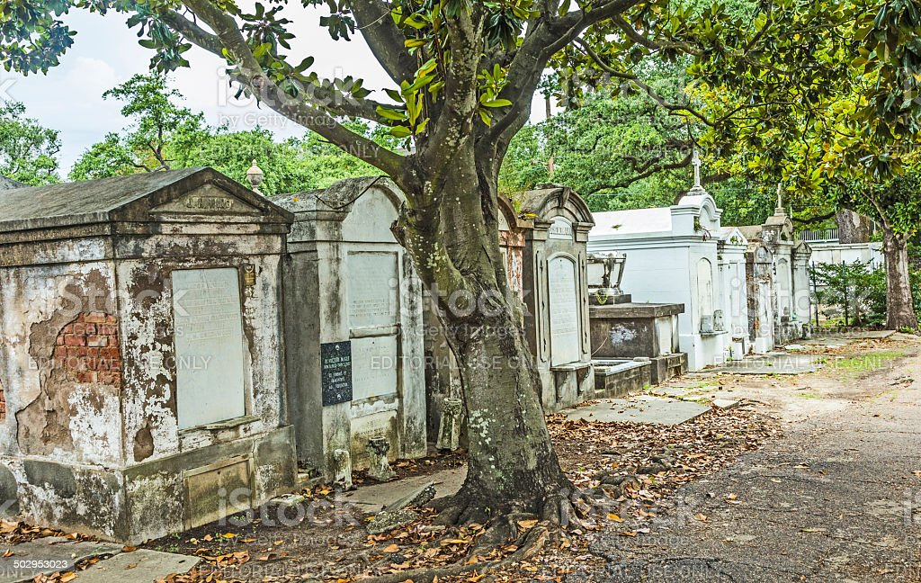 Lafayette cemetery in New Orleans with historic Grave Stones stock photo