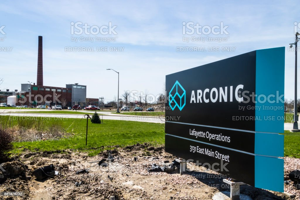 Lafayette - Circa April 2017: Arconic Forging and Extrusion Plant. Arconic was created when Alcoa spun off its jet and auto parts operations III stock photo