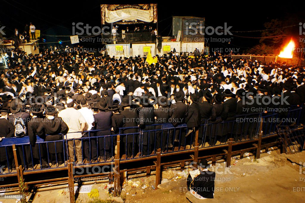 Lag Bomer Jewish Holiday in Mt. meron stock photo