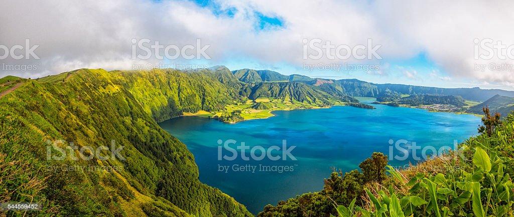 Lagao das Sete Cidades panorama, Sao Miguel (Azores) stock photo