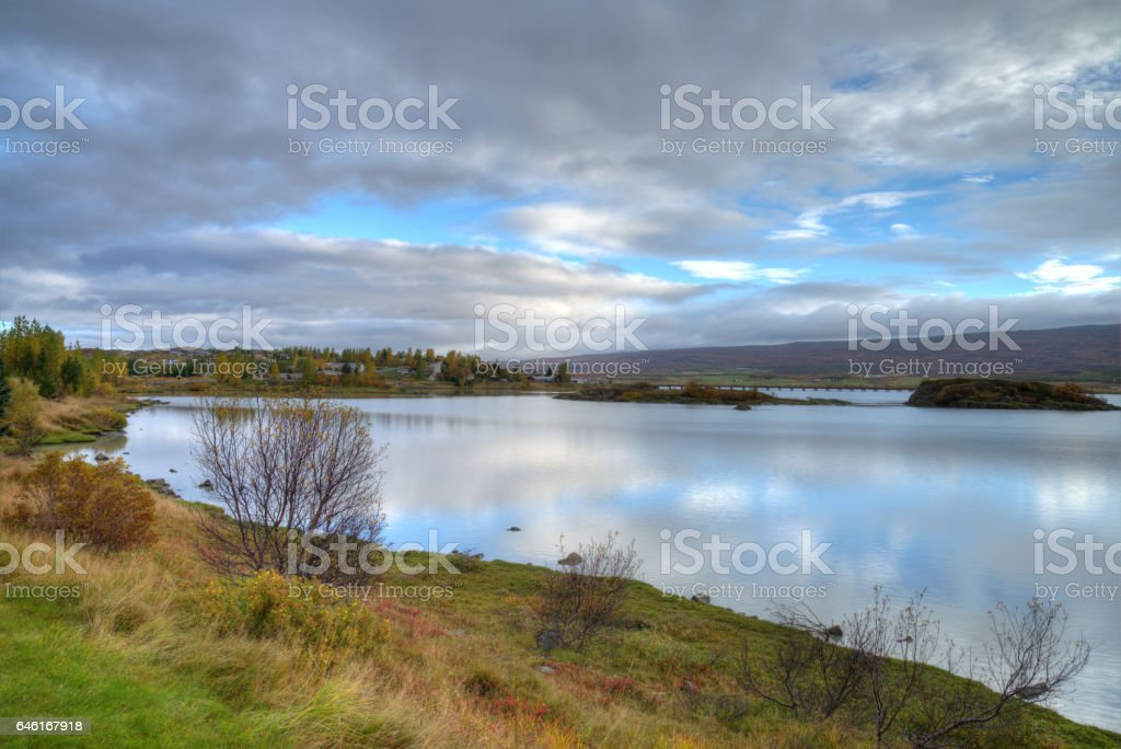 Lagarfljot Lake, Egilsstadir, Iceland stock photo