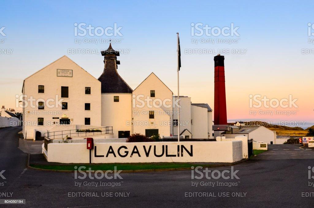 Lagavulin distillery factory after sunset, Islay, United Kingdom stock photo