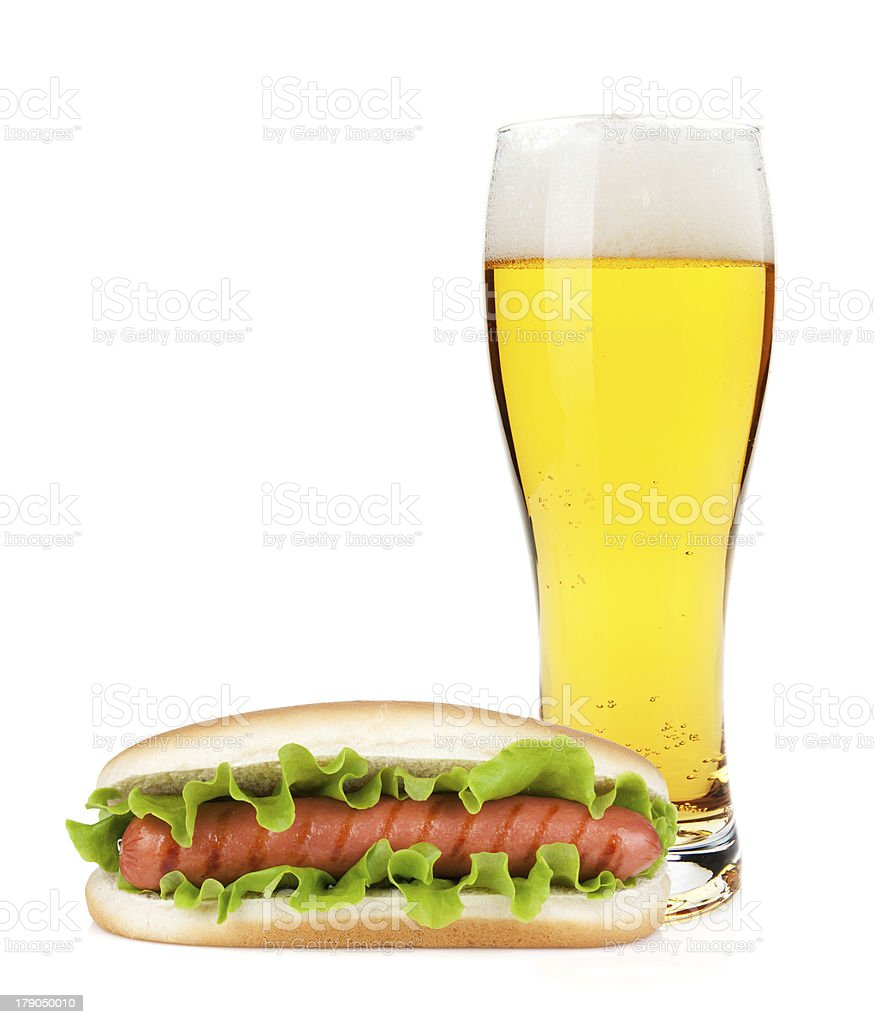Lager beer and hotdod glass royalty-free stock photo