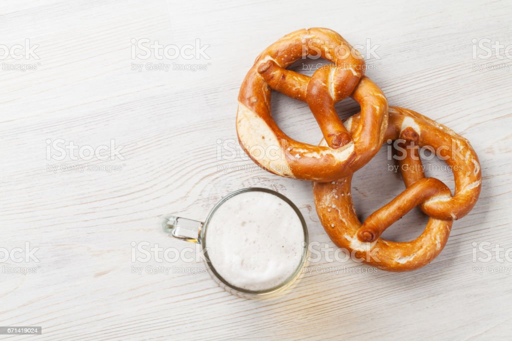 Lager beer and pretzel stock photo