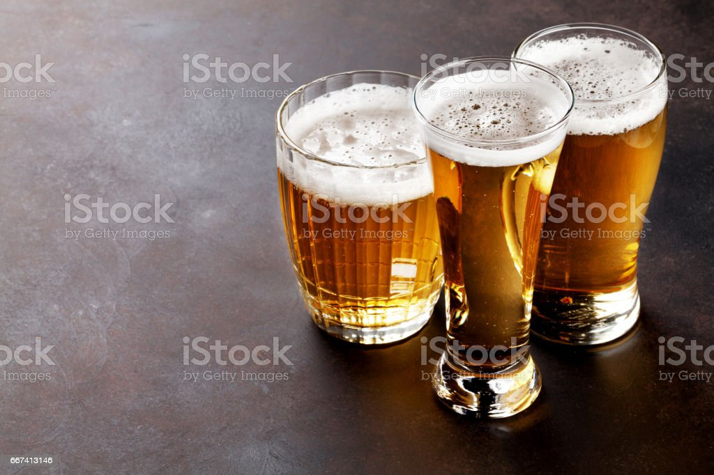 Lager beer mugs stock photo