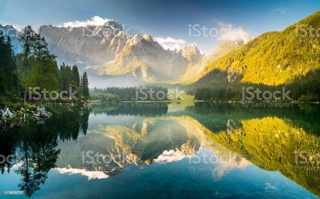 laghi di fusine-mountain lake in the Italian Alps stock photo