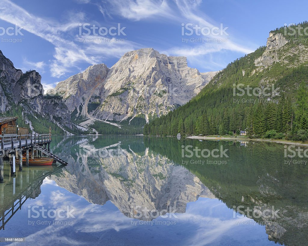 Lago Alpino (Braies Lake - Pragser Wildsee) stock photo