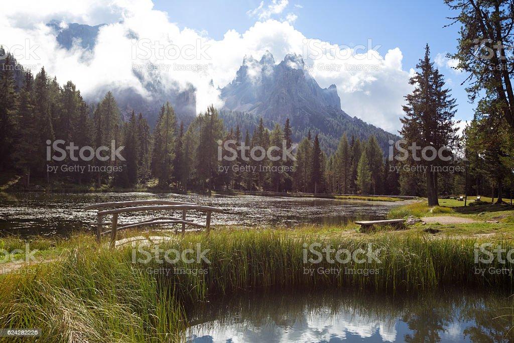 lago Antorno at the Dolomites stock photo