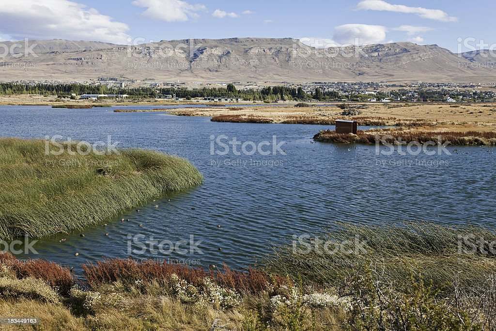 Lago argentino with El Calafate at the back. stock photo