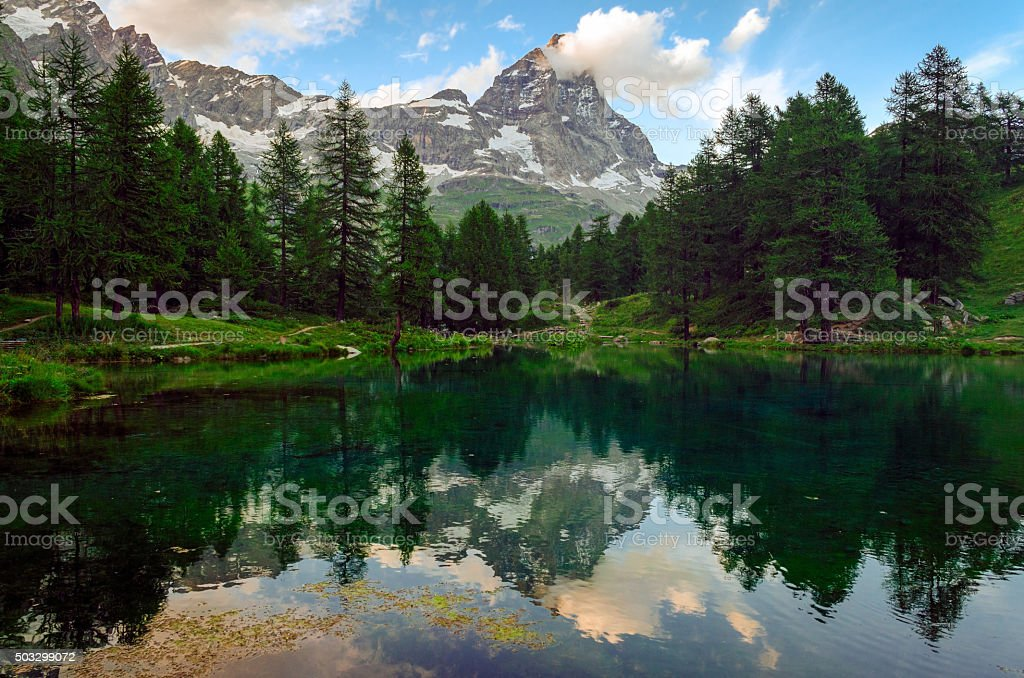 Lago Blu (Blue Lake) Cervinia stock photo