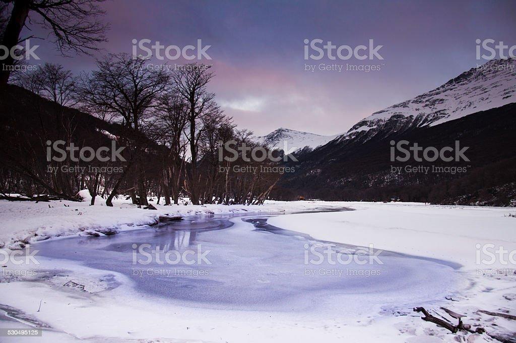 lago congelado en ushuaia argetnina stock photo