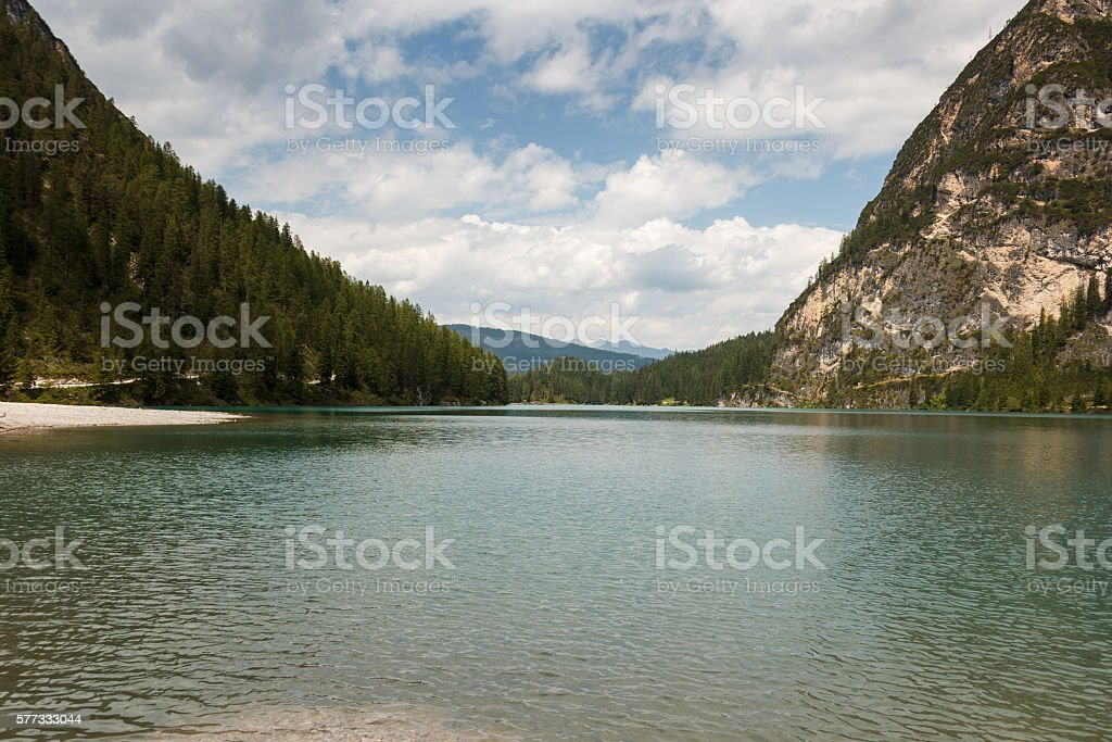 Lago de Braies or The Pragser Wildsee stock photo