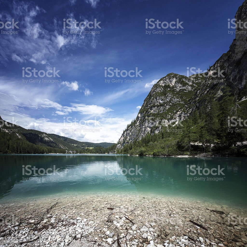 Lago Di Braies and Dolomites, northern Italy royalty-free stock photo