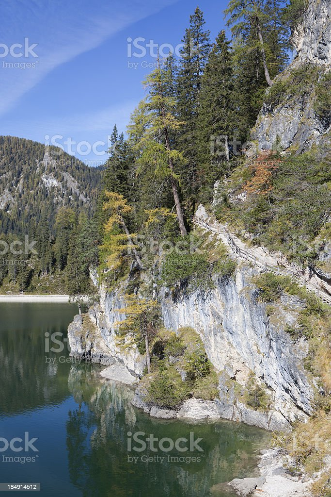 'Lago di Braies - Pragser Wildsee, Dolomites  South Tyrol, Italy' stock photo