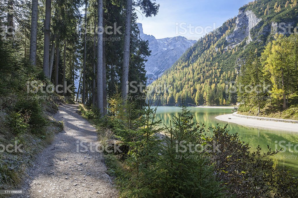 Lago di Braies - Pragser Wildsee,  South Tyrol, Italy stock photo