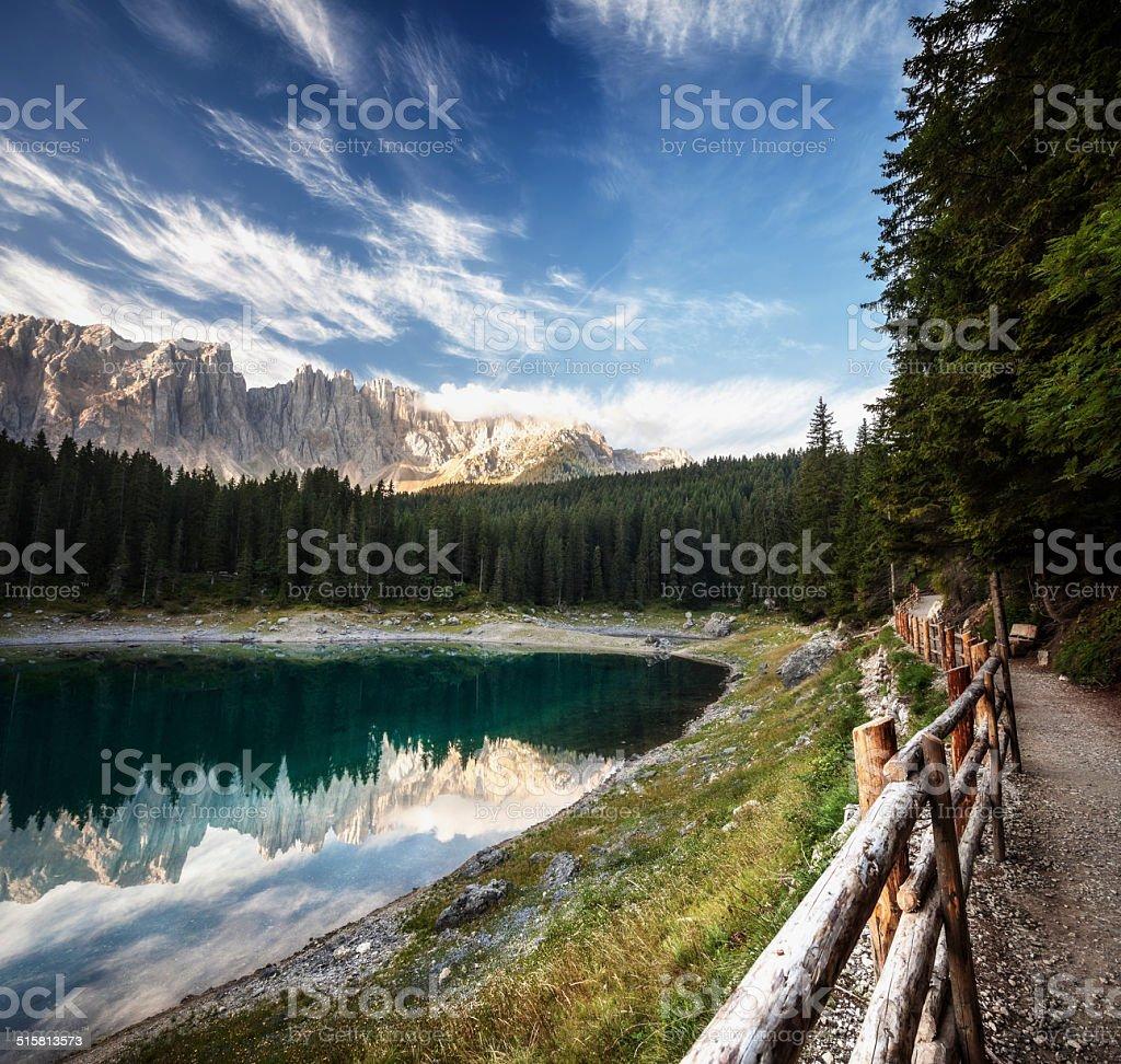 Lago di Carezza and Dolomites, Italy stock photo