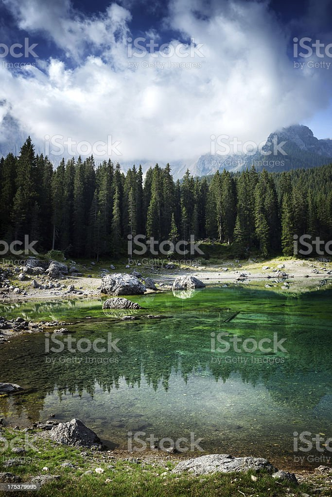 Lago di Carezza. Lake in italian Alps, Dolomites royalty-free stock photo