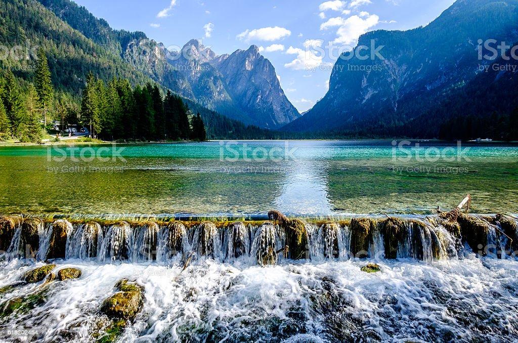Lago di Dobbiaco - toblacher see stock photo