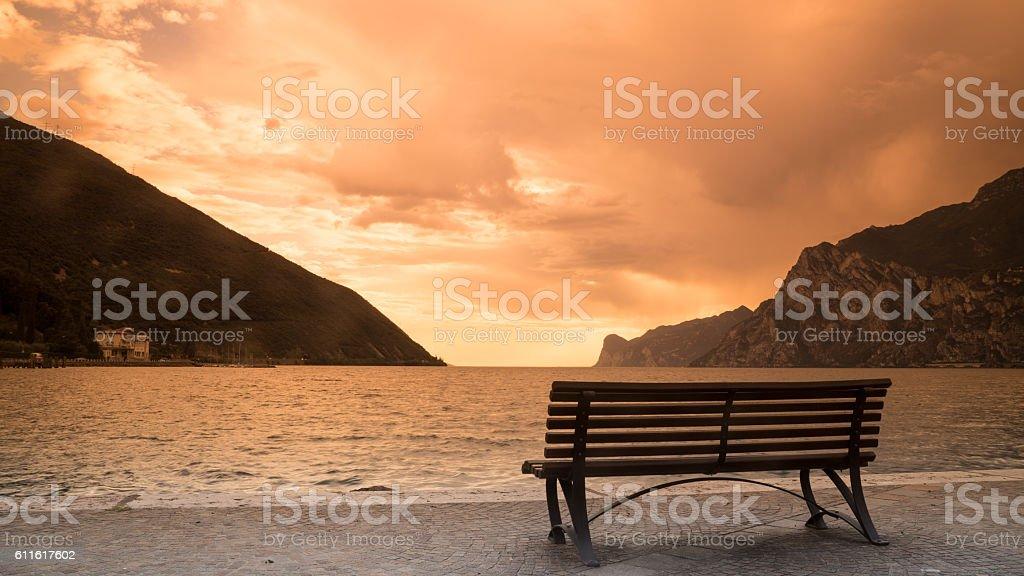 Lago di Garda at sunset stock photo