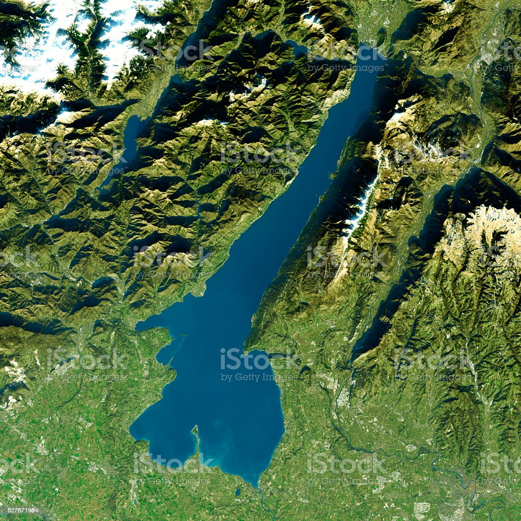 Lago di Garda Satellite Image Natural Color stock photo