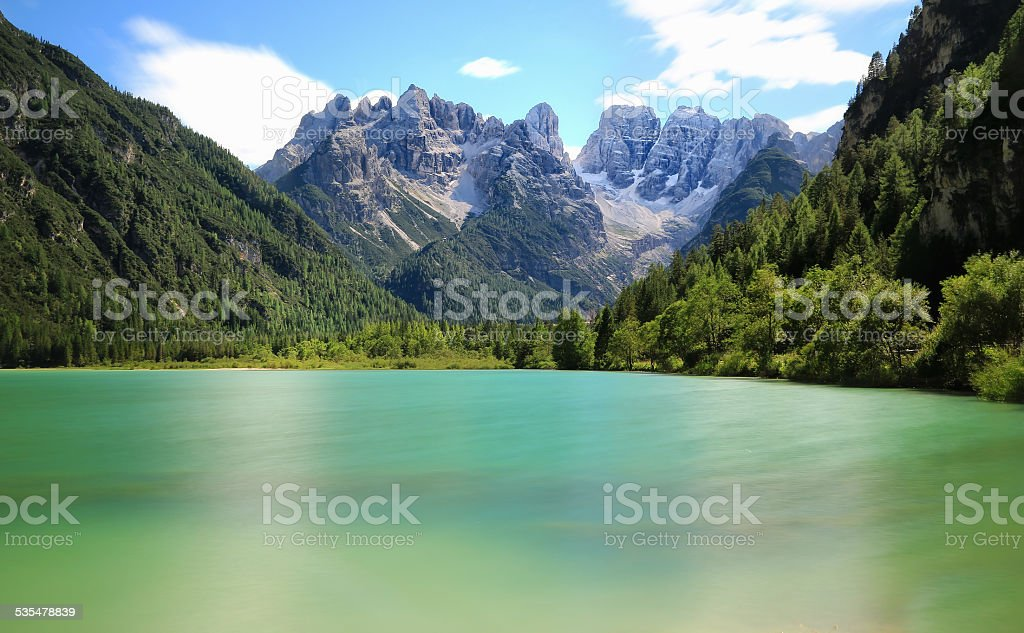 Lago di Landro in cloudy autumn day. Italy stock photo