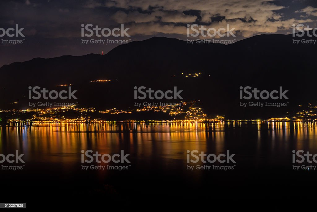 Lago Maggiore Switzerland by night stock photo