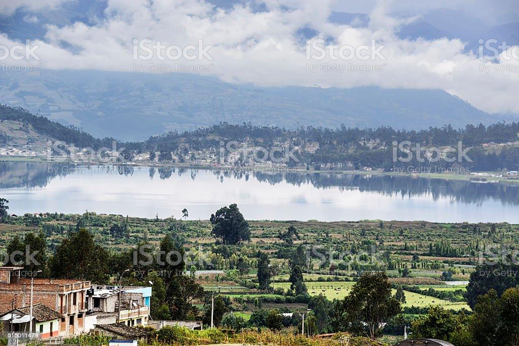 Lago San Pablo Lake in Ecuador stock photo