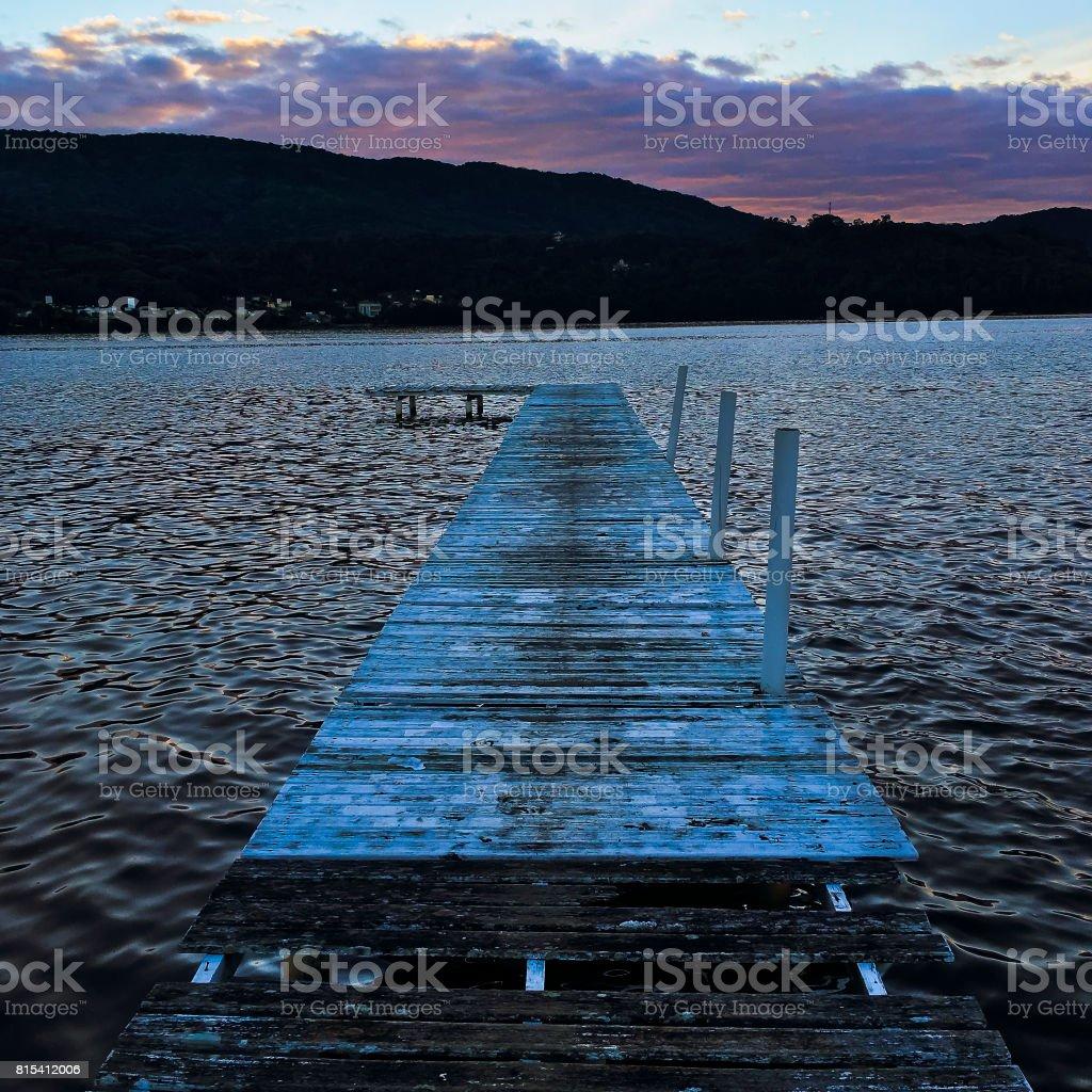 Lagoa da Conceicao at sunset stock photo