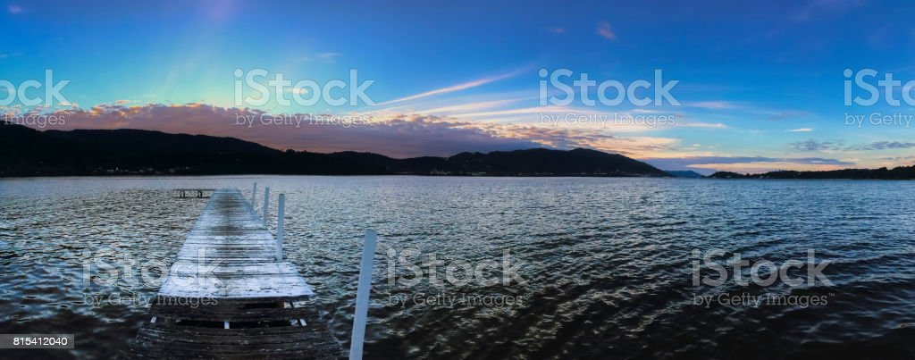 Lagoa da Conceicao panoramic at sunset stock photo