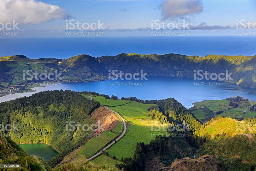 Lagoa de Santiago and Lagoa Azul on San Miguel island stock photo