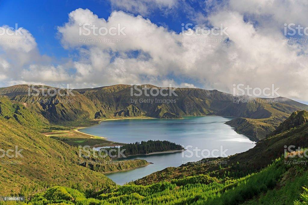 Lagoa do Fogo on San Miguel island of Azores stock photo