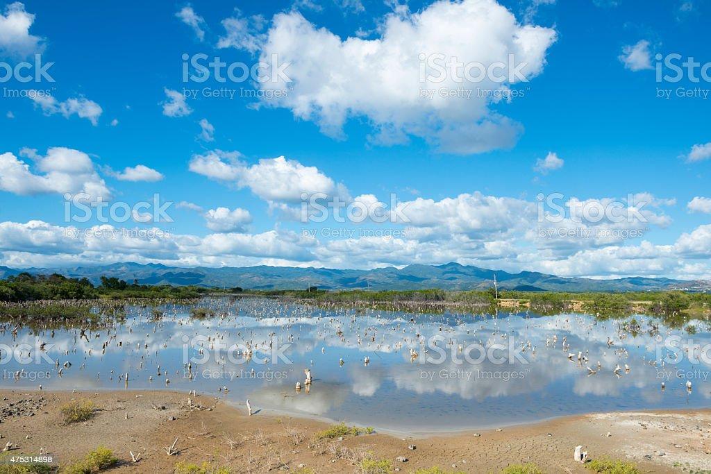 lagoon and landscape outside Trinidad, Cuba stock photo