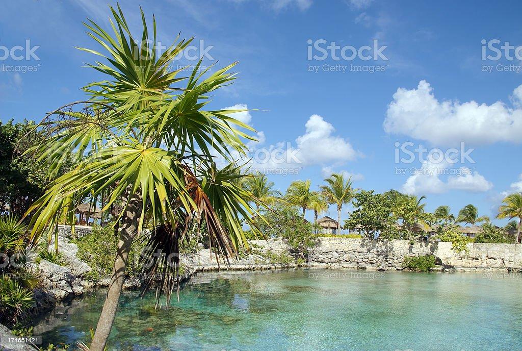 Lagoon at Chankanaab stock photo