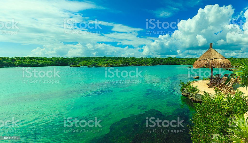 lagoon in mexico panorama stock photo