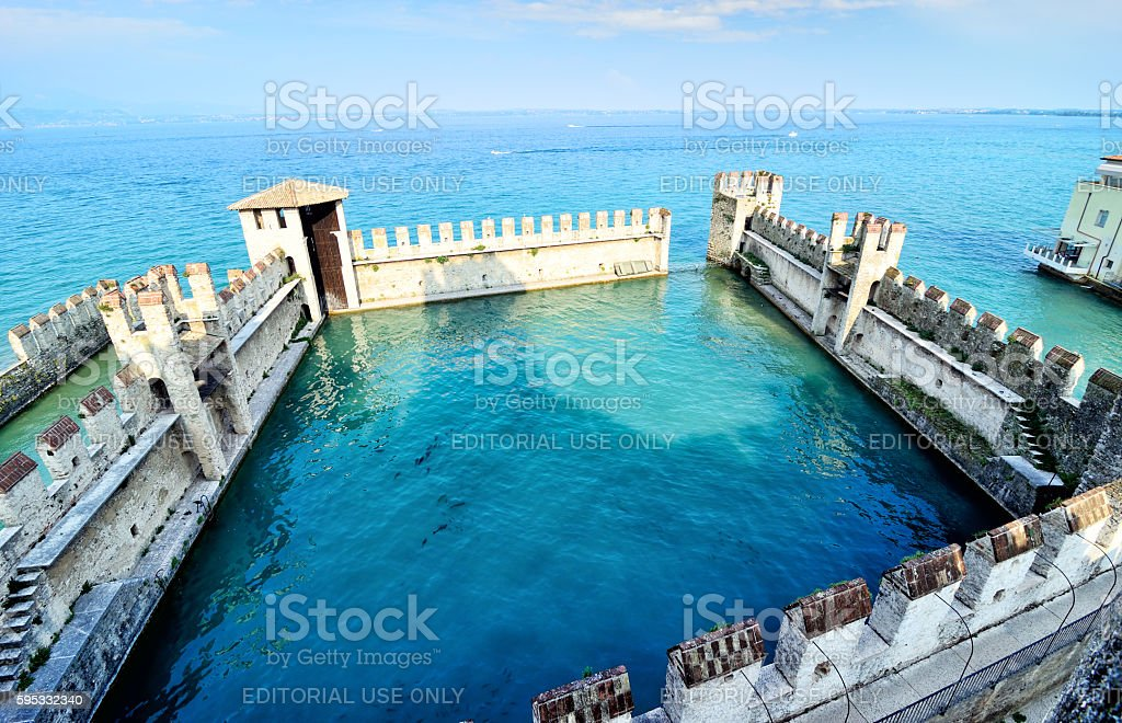 Lagoon in the Sirmione Castle stock photo